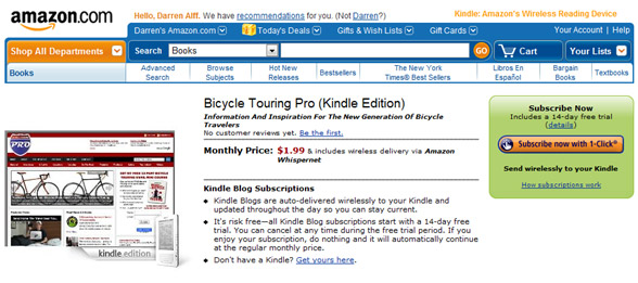 Bicycle Touring Pro Now Available On The Amazon Kindle