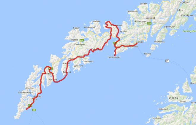 Lofoten Islands Norway bicycle route map
