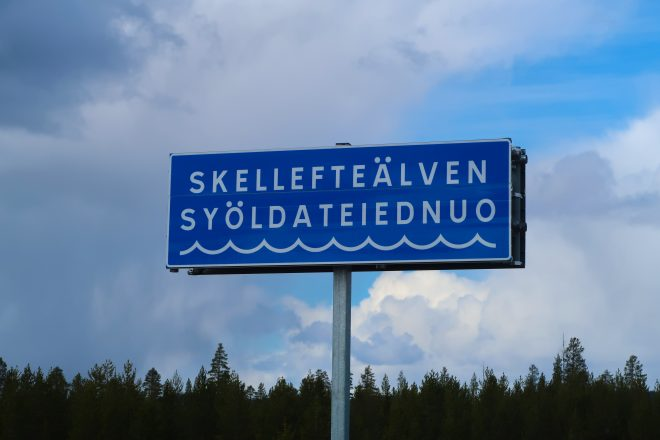 Skelleftalven sign in Sweden