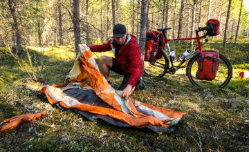 Pitching a tent on a bike tour