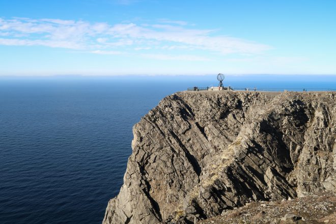 The North Cape globe, cliff and sea in Nordkapp Norway