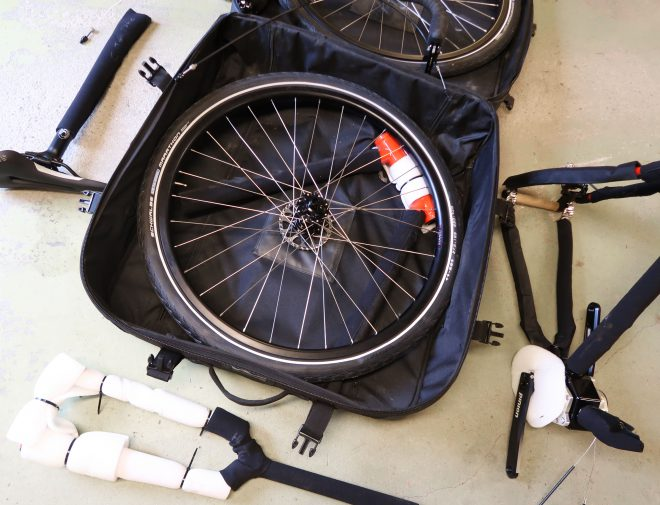 Co-Motion cycles travel case with rear wheel inside