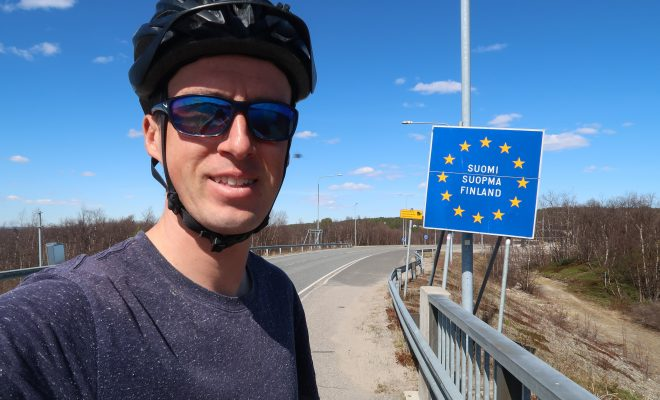 Crossing the border from Sweden to Finland in Karesuando