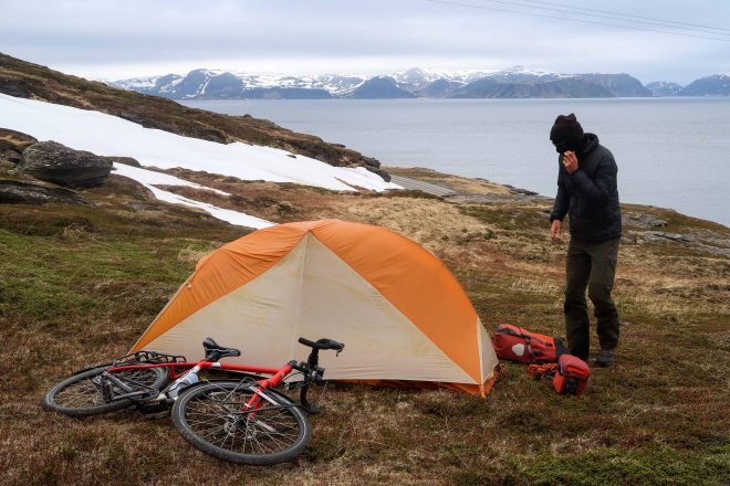 Bicycle touring and wild camping in Nordkapp Norway