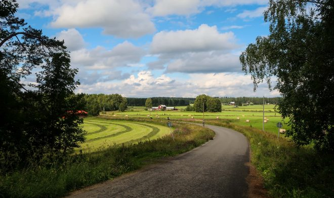 Sideroads in farmland Sweden