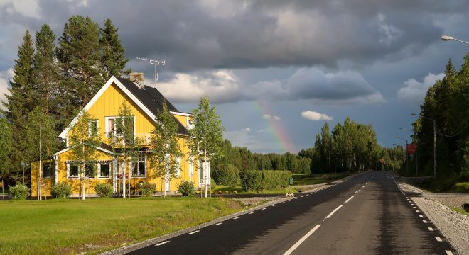 Yellow House and Rainbow in Sweden