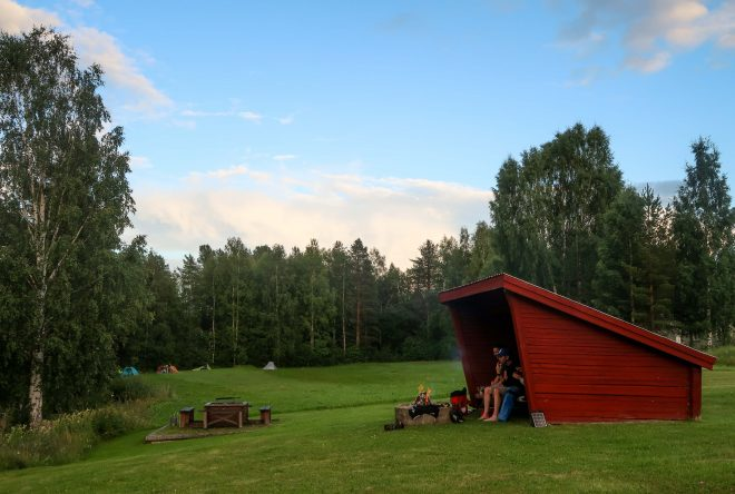 Bicycle touring campsite in Åbyälv, Sweden