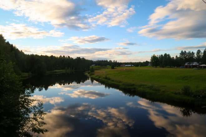 Åbyälv, Sweden river and clouds