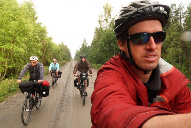 Darren Alff leads a bike tour in northern Sweden