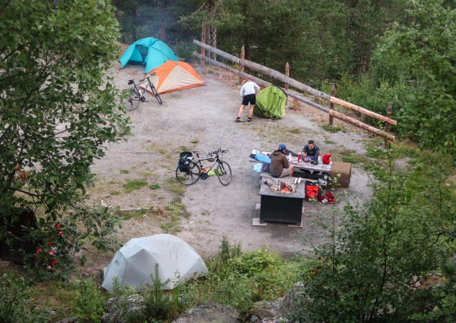 Bikepacking in Lulea, Sweden campsite