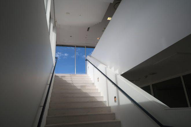 interior stairs of bildmuseet in Umea, Sweden