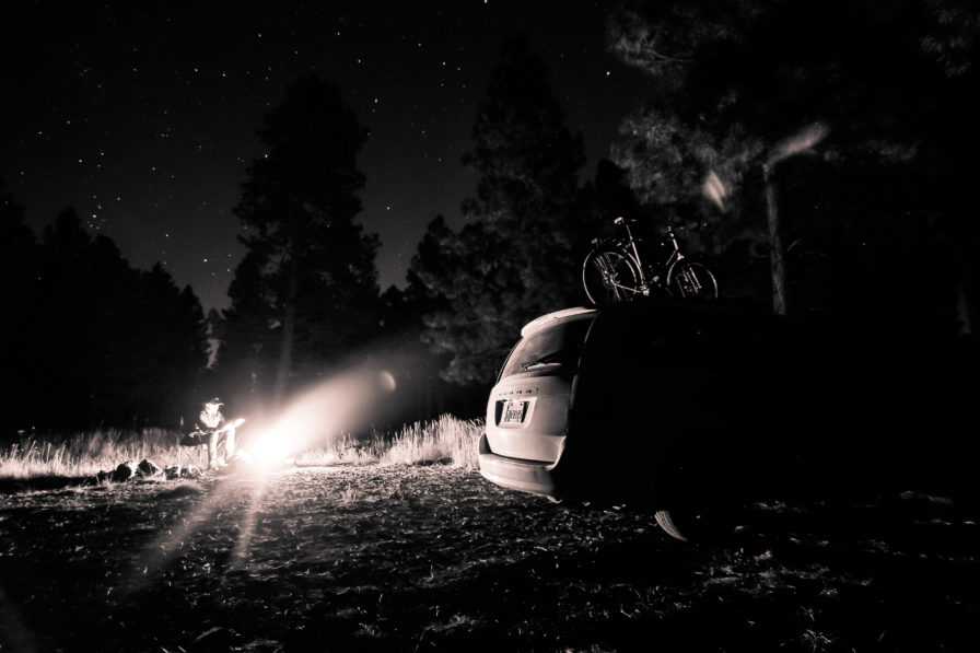campfires and car camping at night under the stars in flagstaff arizona