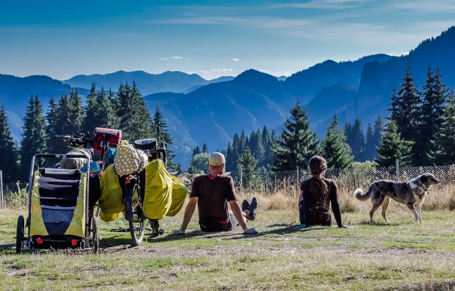 bicycle touring lifestyle with a dog