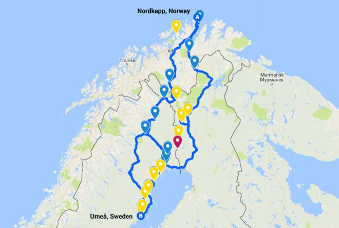 Sweden to Norway bike tour map