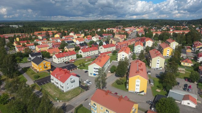 colorful apartment buildings in Umea, Sweden
