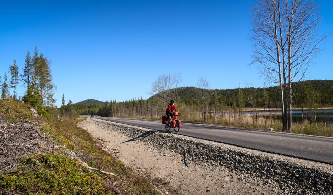 Bicycle Touring Pro on road in Sweden