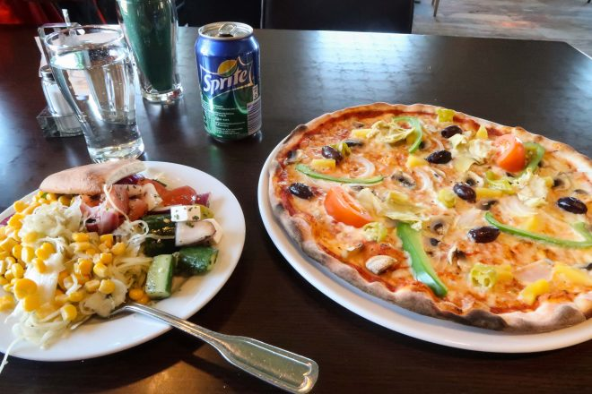 Jokkmokk Sweden pizza and salad lunch