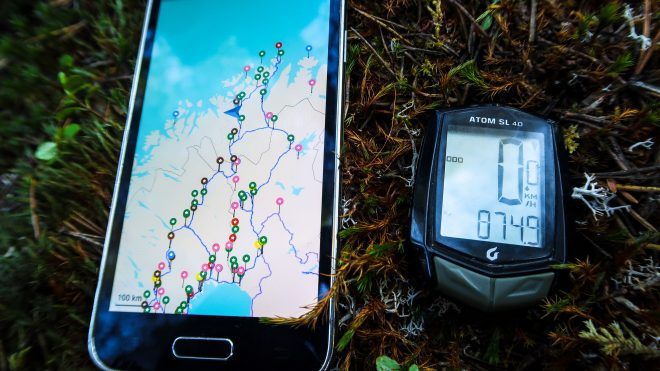 Maps.me smartphone offline mapping application and Blackburn Atom 4.0 bicycle odometer