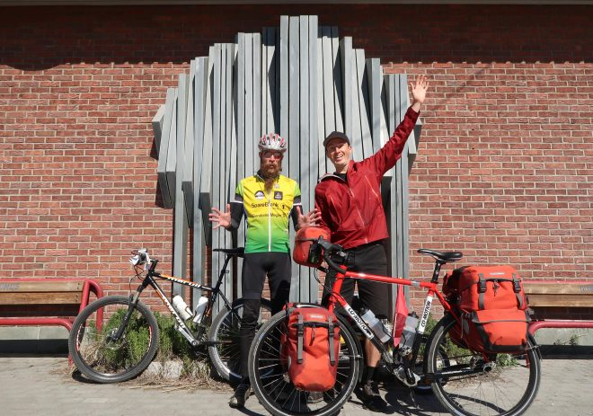 Trygve Gjolberg and Darren Alff on bicycle tour in Alta Norway