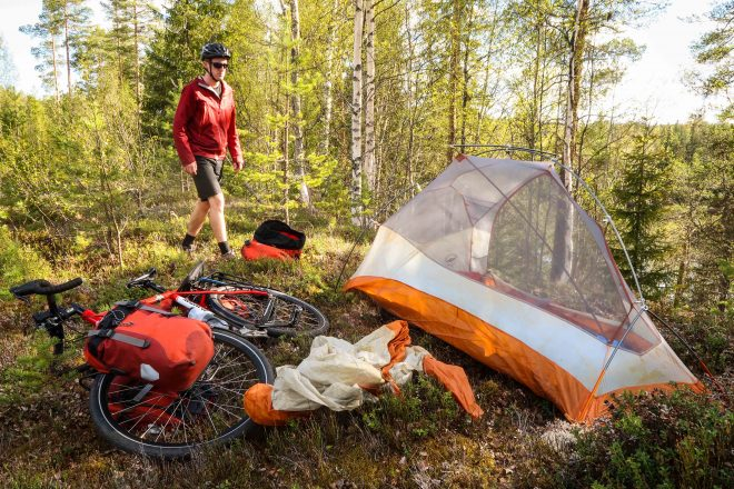 darren alff, big agnes copper spur ul 1 tent, co-motion cycles siskiyou touring bicycle, ortlieb bicycle panniers