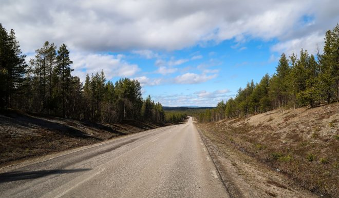 Forest road that is typical in Sweden