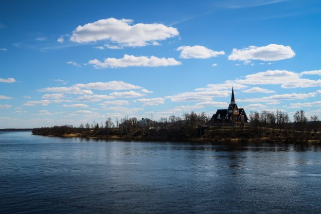 Karesuando Sweden church on river