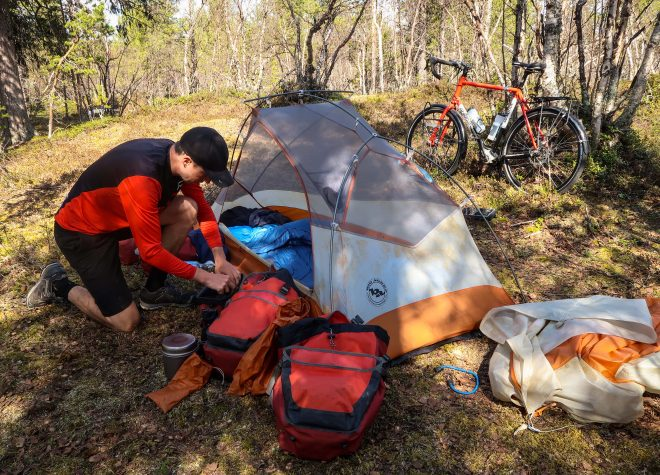 free bicycle touring campsite in norway