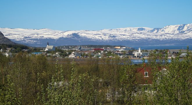 alta, norway skyline view with snowy mountains