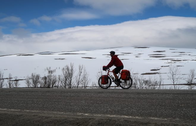 Bicycle Touring Pro cycling in snow in Norway