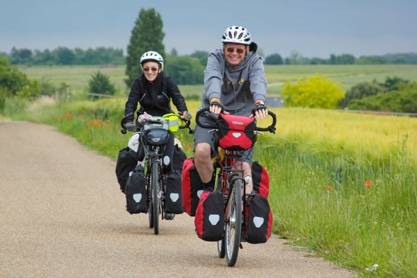 Happy Bicycle Touring Couple