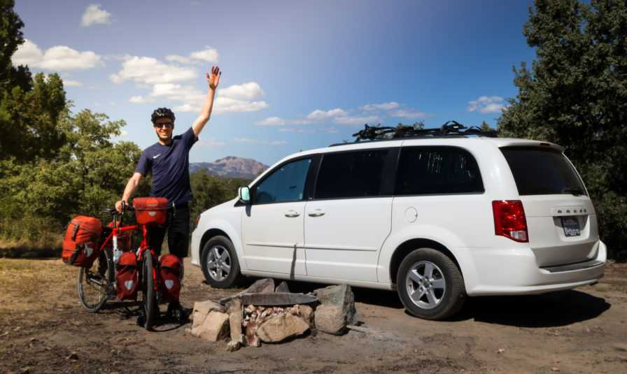Darren Alff's Dodge Caravan Campervan and touring bicycle