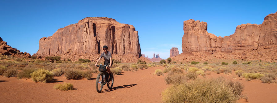 Bicycle through Monument Valley