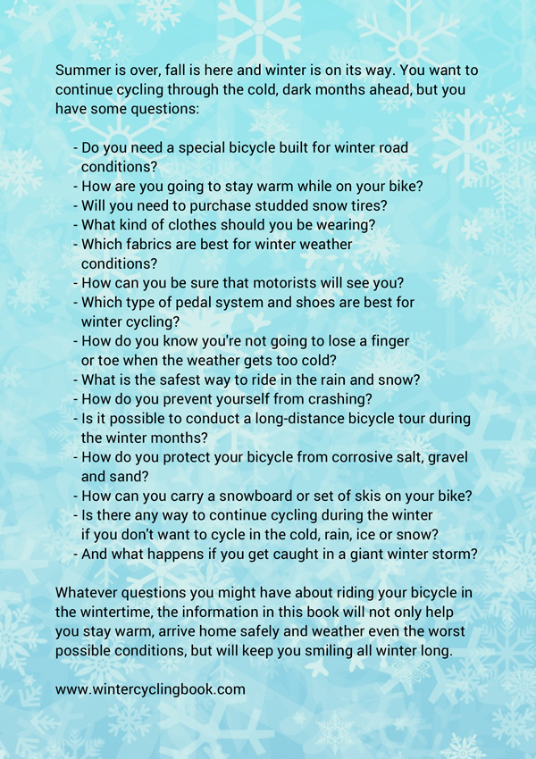 Winter Cycling Book - Back Cover