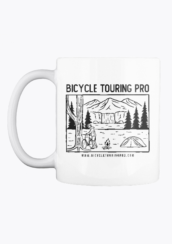 front view of the bicycle touring pro wild camping coffee cup