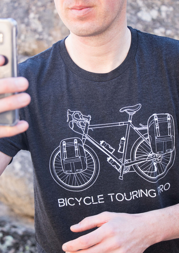 Fully-Loaded Touring Bicycle Selfie T-shirt