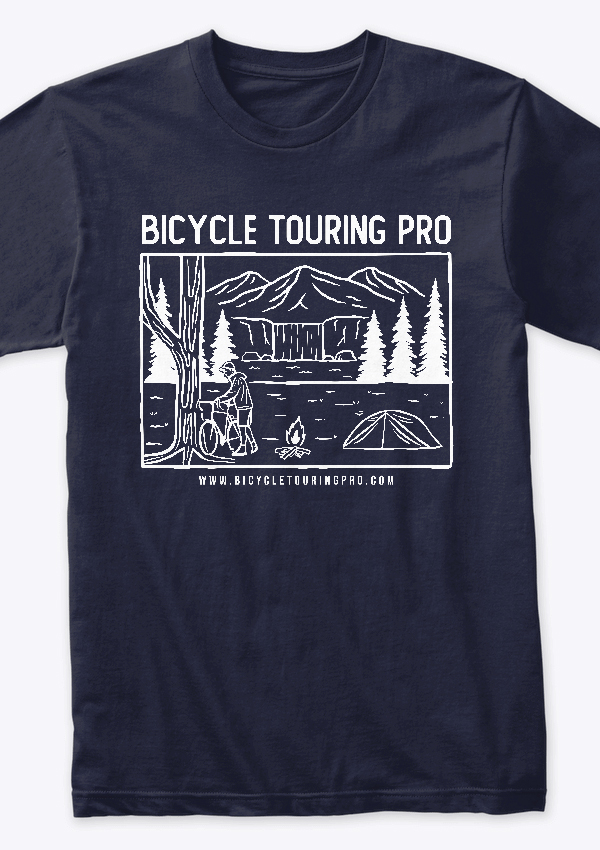 wild camping bicycle touring pro t-shirt in navy blue