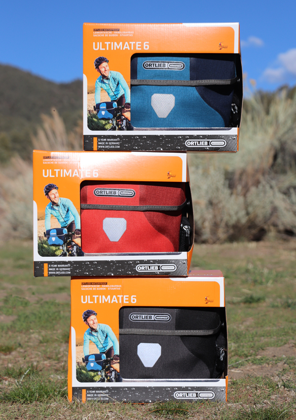 3 colors of new Ortlieb Ultimate 6 Plus handlebar bags - red, black and blue