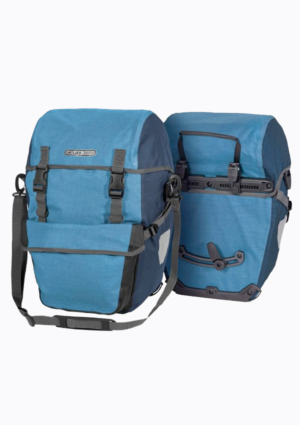 Pair of blue Ortlieb Bike-Packer Plus panniers