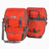 pair of ortlieb bikepacker plus waterproof bicycle panniers red