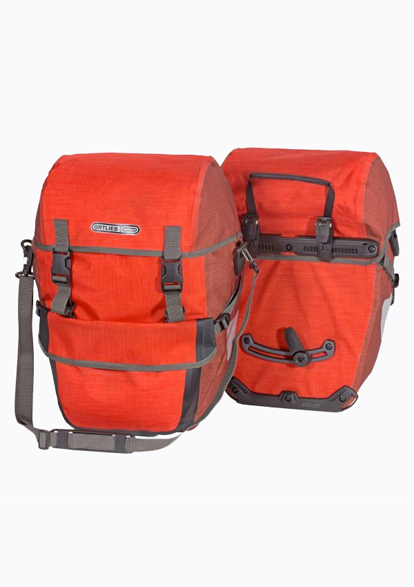 Pair of red Ortlieb Bike-Packer Plus Panniers