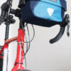 ortlieb ultimate six handelbar bag 5 liter – blue on bicycle front